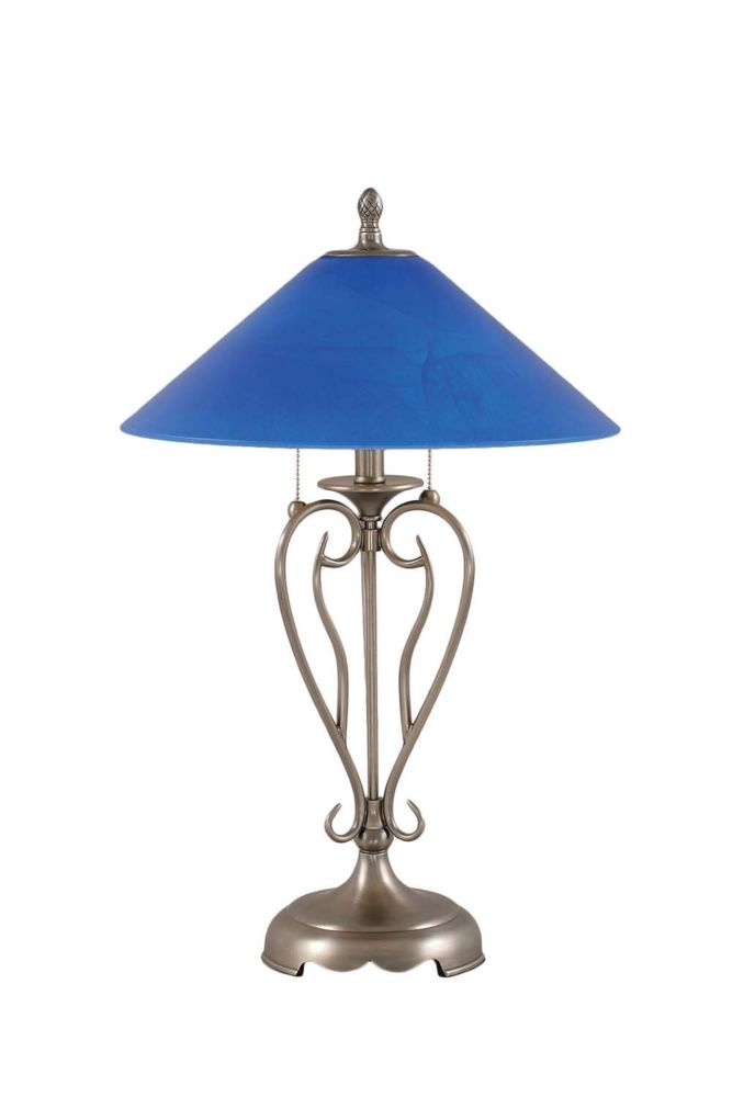 Concord 16 in Brushed Nickel Table Lamp with a Blue Italian Glass