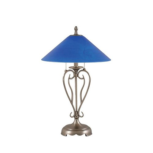 Filament Design Concord 16 in Brushed Nickel Table Lamp with a Blue Italian Glass