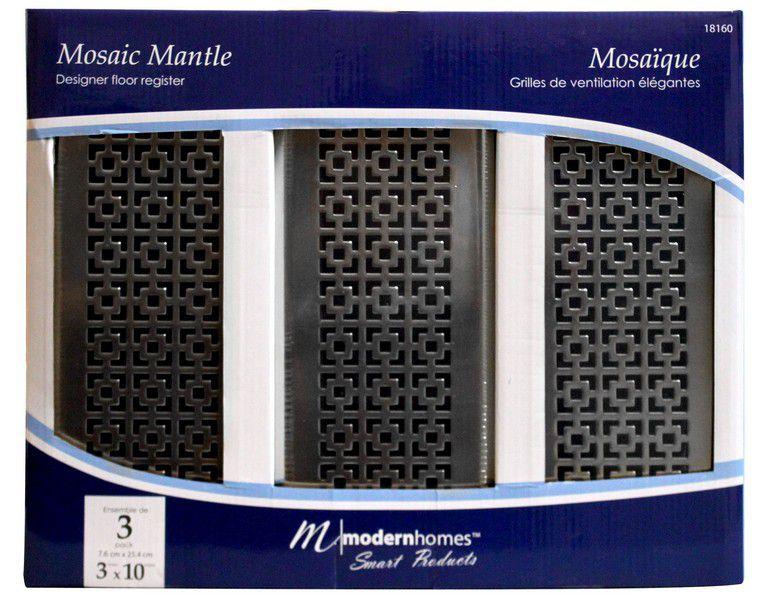 3x10 Designer Mosaic Mantle Brushed Nickel Floor Register Trio Pack