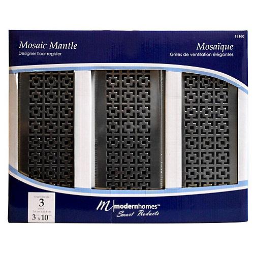 Trio de grilles de ventilation 3x10 Mosaic Mantle