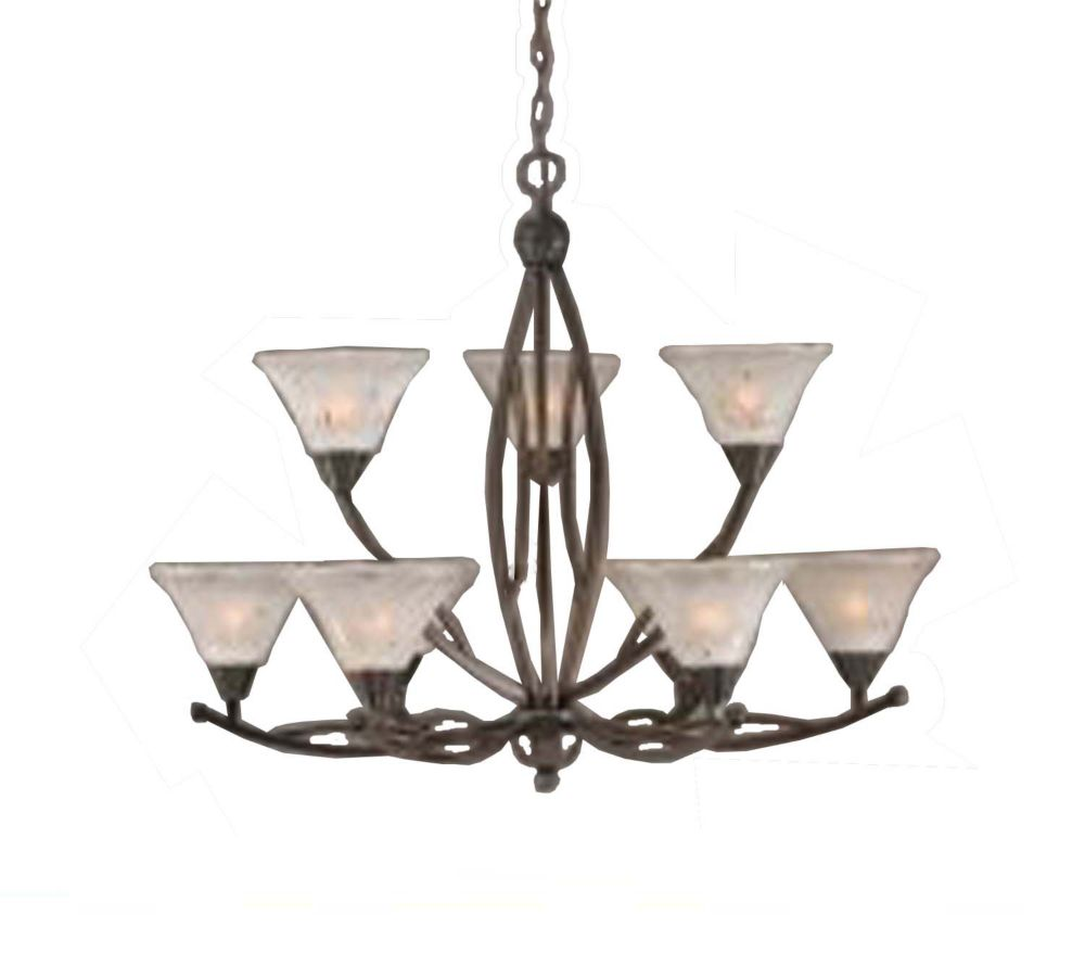 Concord 9 Light Ceiling Onyx Incandescent Chandelier with a Frosted Crystal Glass