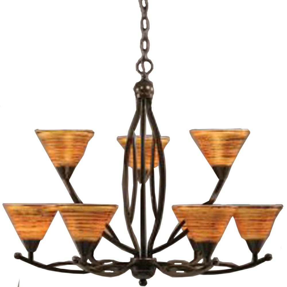 Concord 9-Light Ceiling Onyx Chandelier with a Firré Saturn Glass