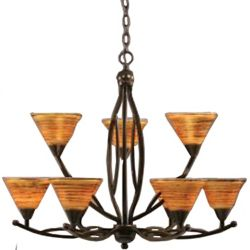 Filament Design Concord 9-Light Ceiling Onyx Chandelier with a Firré Saturn Glass