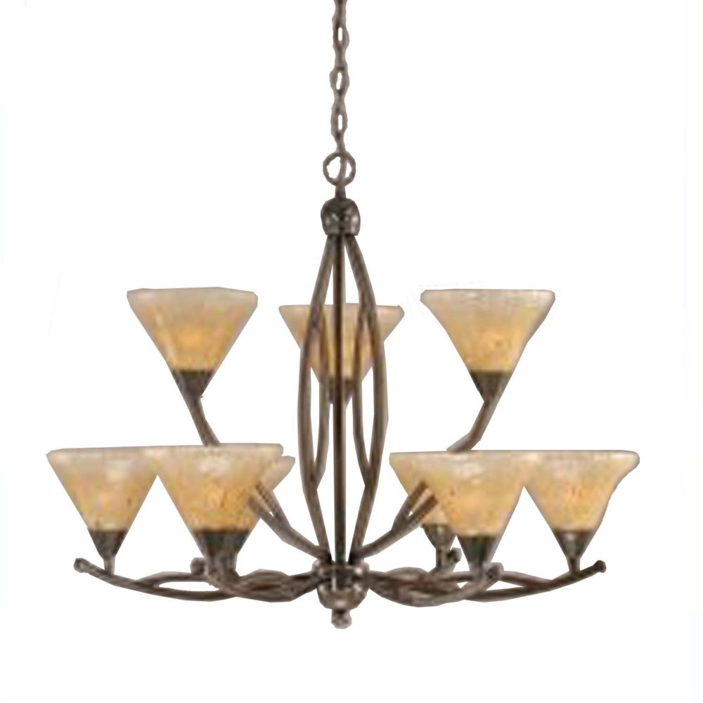 Concord 9-Light Ceiling Black Copper Chandelier with an Amber Glass