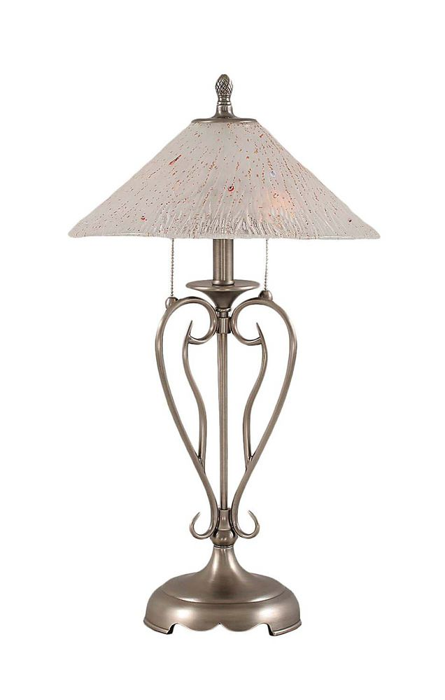 Concord 16 in Brushed Nickel Incandescent Table Lamp with a Frosted Crystal Glass