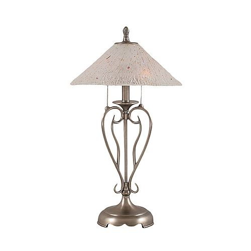 Filament Design Concord 16 in Brushed Nickel Incandescent Table Lamp with a Frosted Crystal Glass