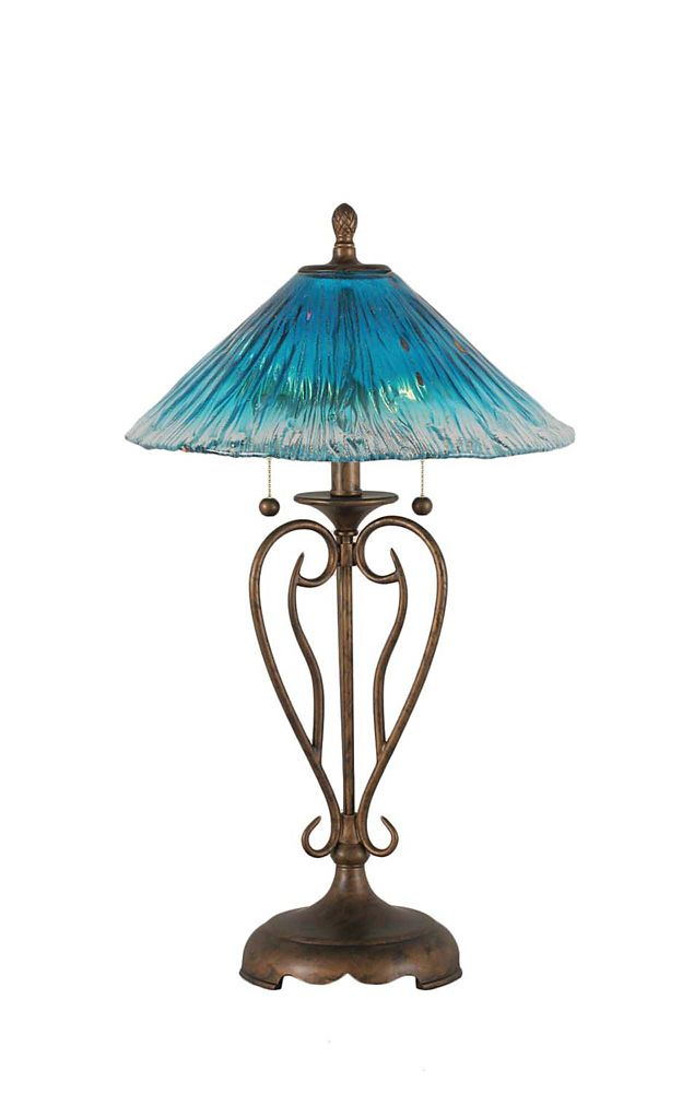 Concord 16 in Bronze Table Lamp with a Teal Crystal Glass
