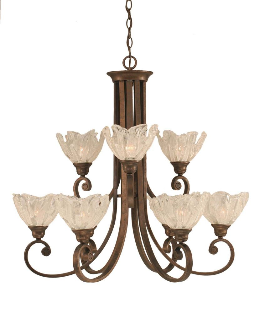 Concord 9-Light Ceiling Bronze Chandelier with a Clear Crystal Glass