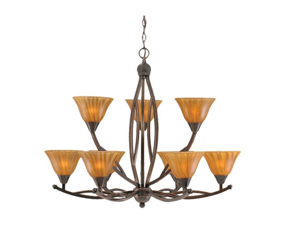 Concord 9 lumières plafond Noir Copper Chandelier à incandescence avec un tigre en verre