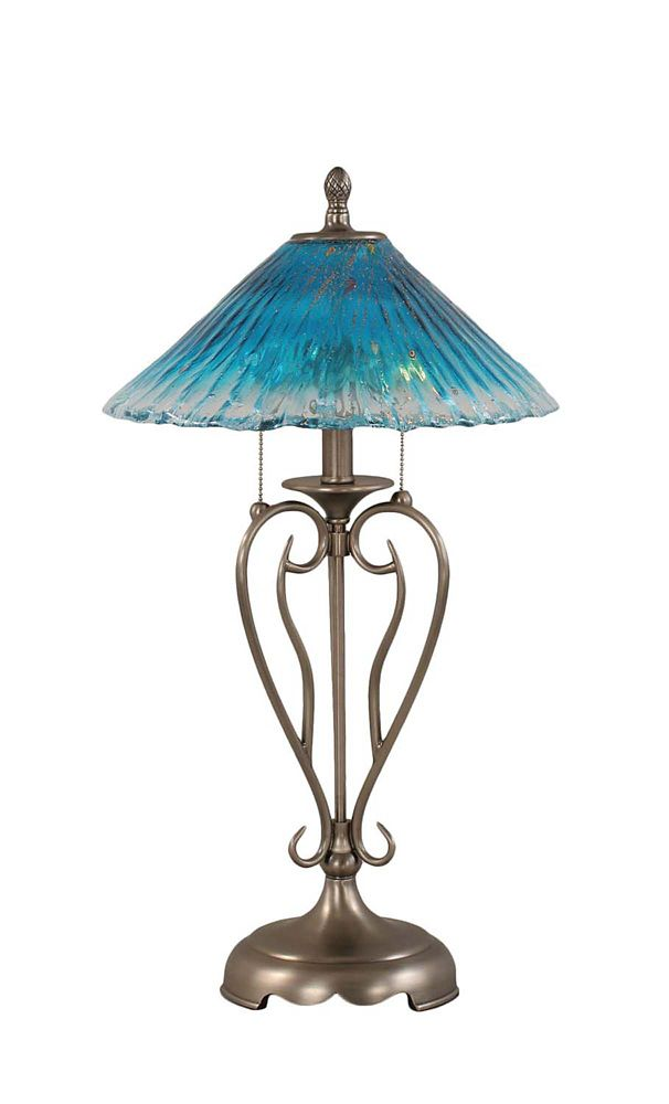 Concord 16 in Brushed Nickel Incandescent Table Lamp with a Teal Crystal Glass