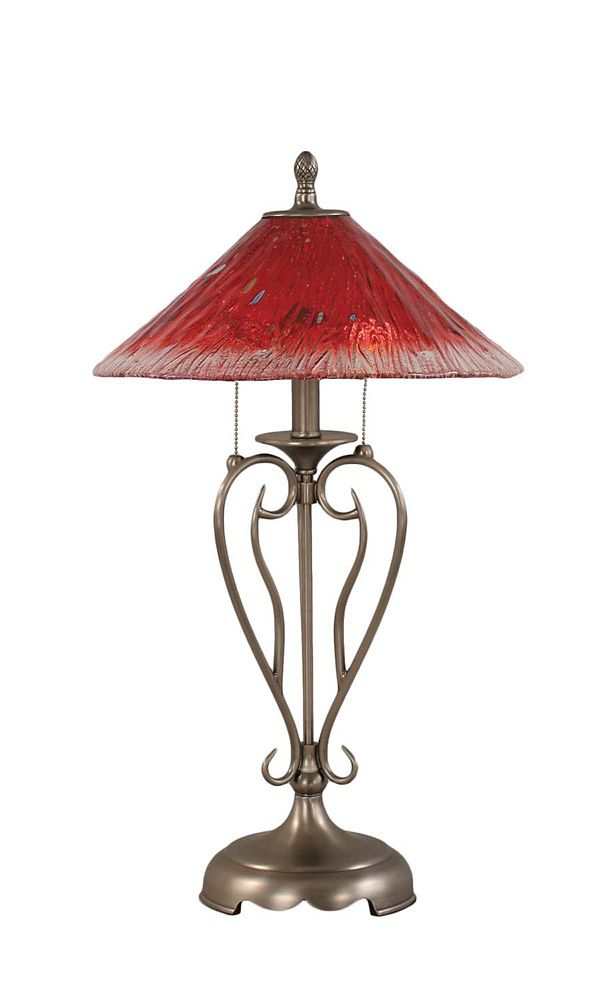 Concord 16 in Brushed Nickel Incandescent Table Lamp with a Raspberry Crystal Glass
