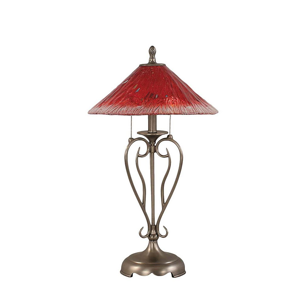 Filament Design Concord 16 in Brushed Nickel Table Lamp with a Raspberry Crystal Glass