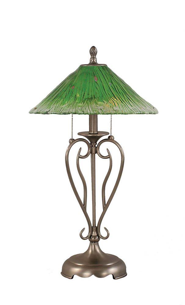 Concord 16 in Brushed Nickel Incandescent Table Lamp with a Green Crystal Glass
