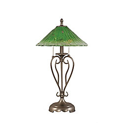 Filament Design Concord 16 in Brushed Nickel Table Lamp with a Green Crystal Glass