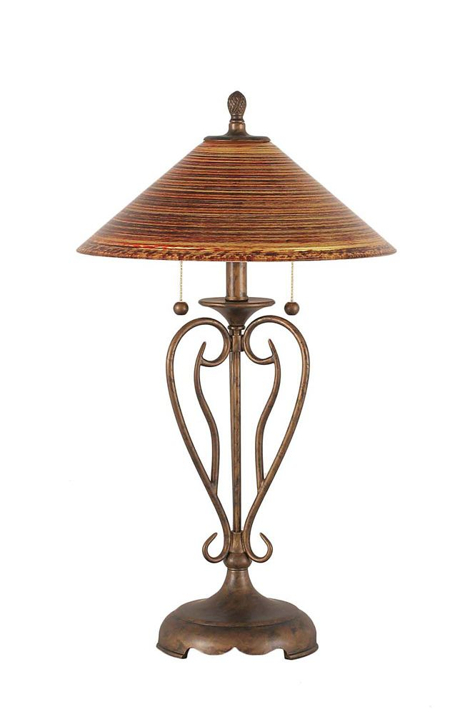 Concord 16 in Bronze Table Lamp with a Firré Saturn Glass