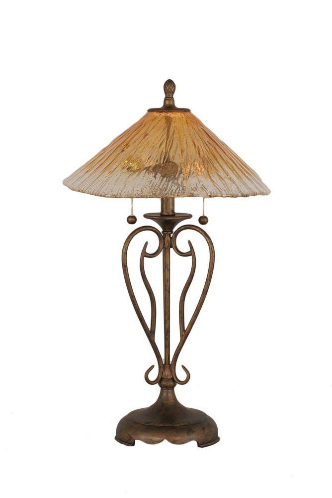 Concord 16 en Bronze Table Lamp incandescence par un verre ambre