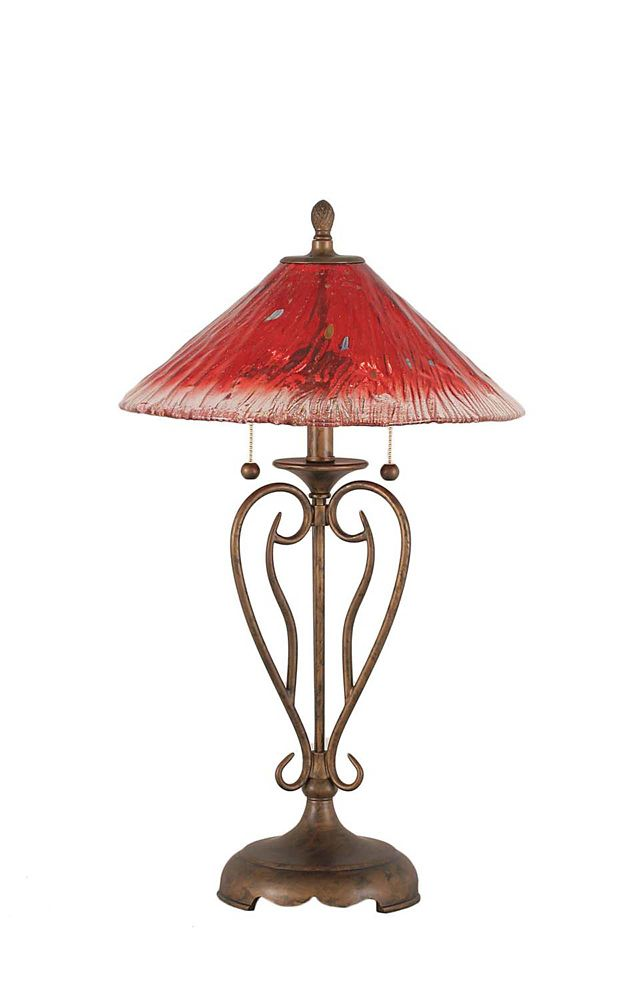 Concord 16 in Bronze Table Lamp with a Raspberry Crystal Glass
