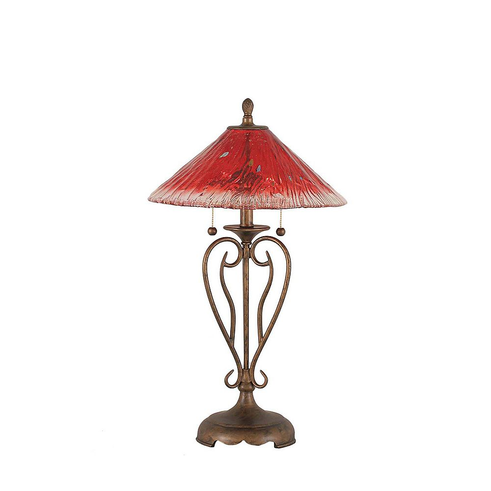 Filament Design Concord 16 in Bronze Table Lamp with a Raspberry Crystal Glass