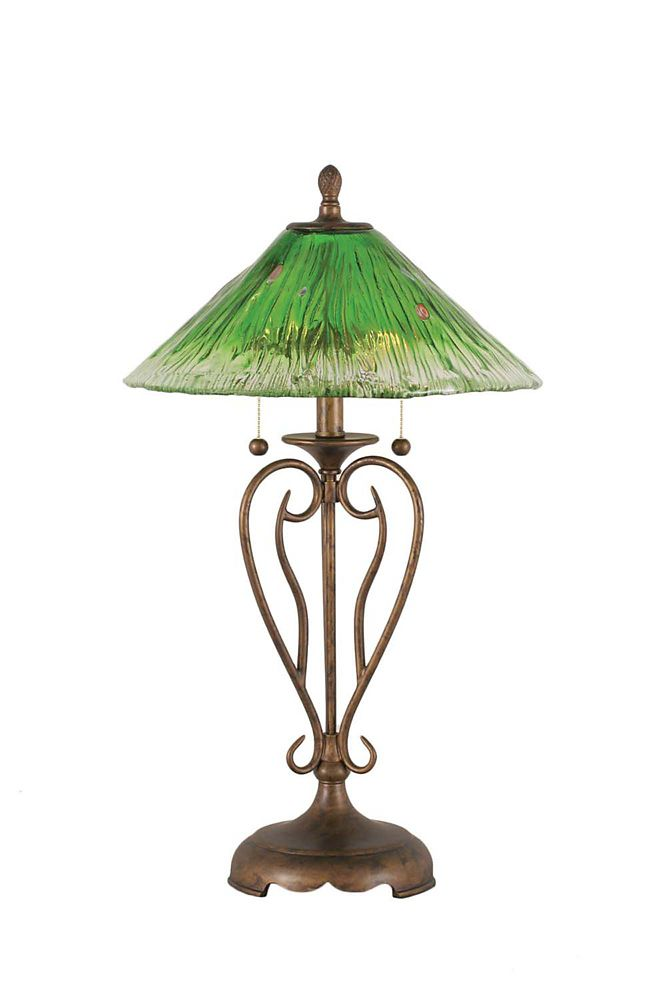 Concord 16 in Bronze Table Lamp with a Green Crystal Glass