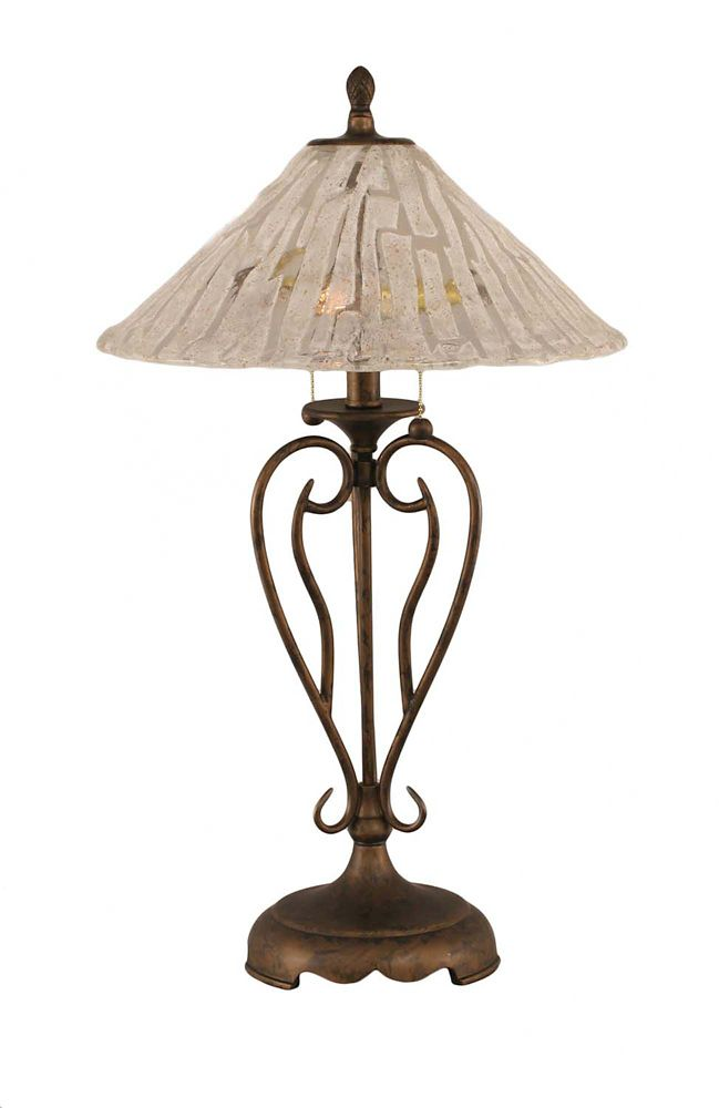 Concord 16 in Bronze Incandescent Table Lamp with a Clear Crystal Glass