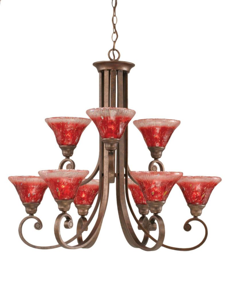 Concord 9 Light Ceiling Bronze Incandescent Chandelier with a Raspberry Crystal Glass