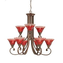 Filament Design Concord 9-Light Ceiling Bronze Chandelier with a Raspberry Crystal Glass