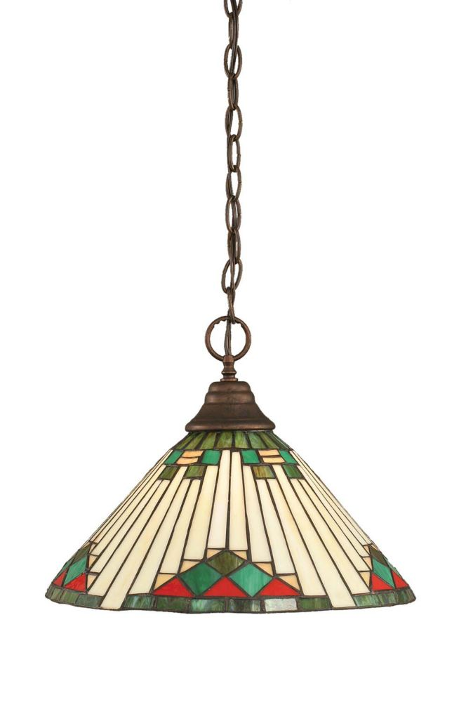 Concord 1 Light Ceiling Bronze Incandescent Pendant with a Green Tiffany Glass