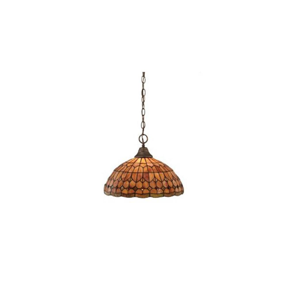 Concord 1 Light Ceiling Bronze Incandescent Pendant with a Rosetta Tiffany Glass