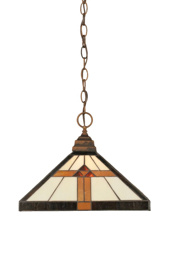 Filament Design Concord 1-Light Ceiling Bronze Pendant with a Honey and Brown Tiffany Glass