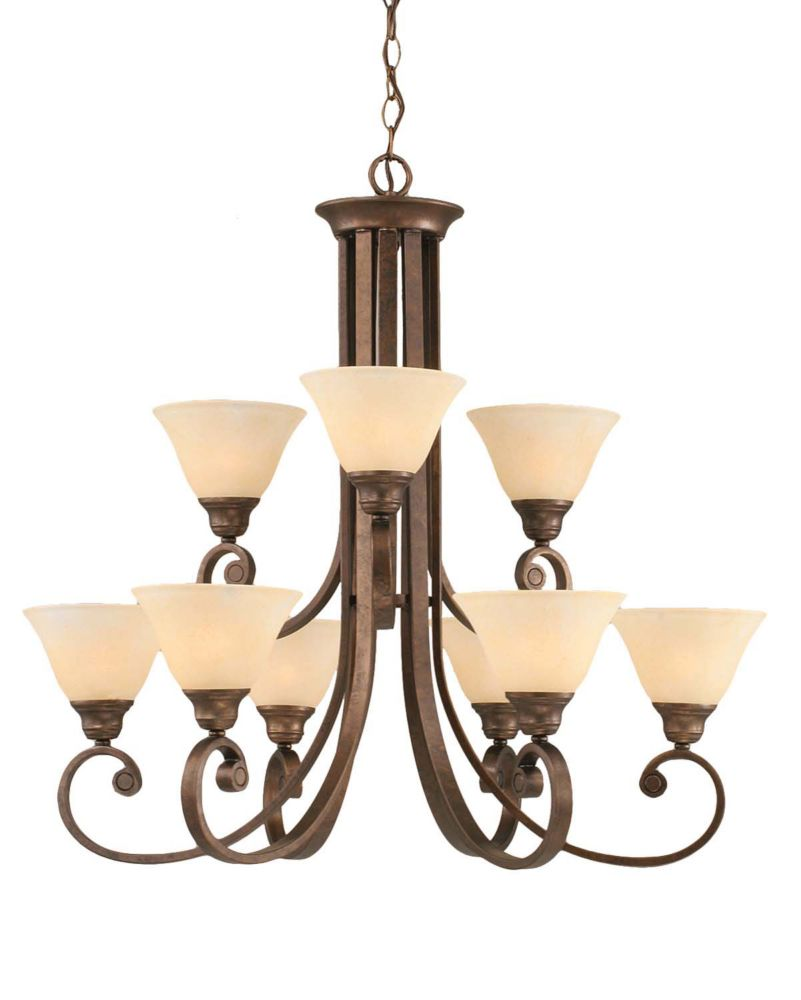Concord 9 Light Ceiling Bronze Incandescent Chandelier with an Amber Glass