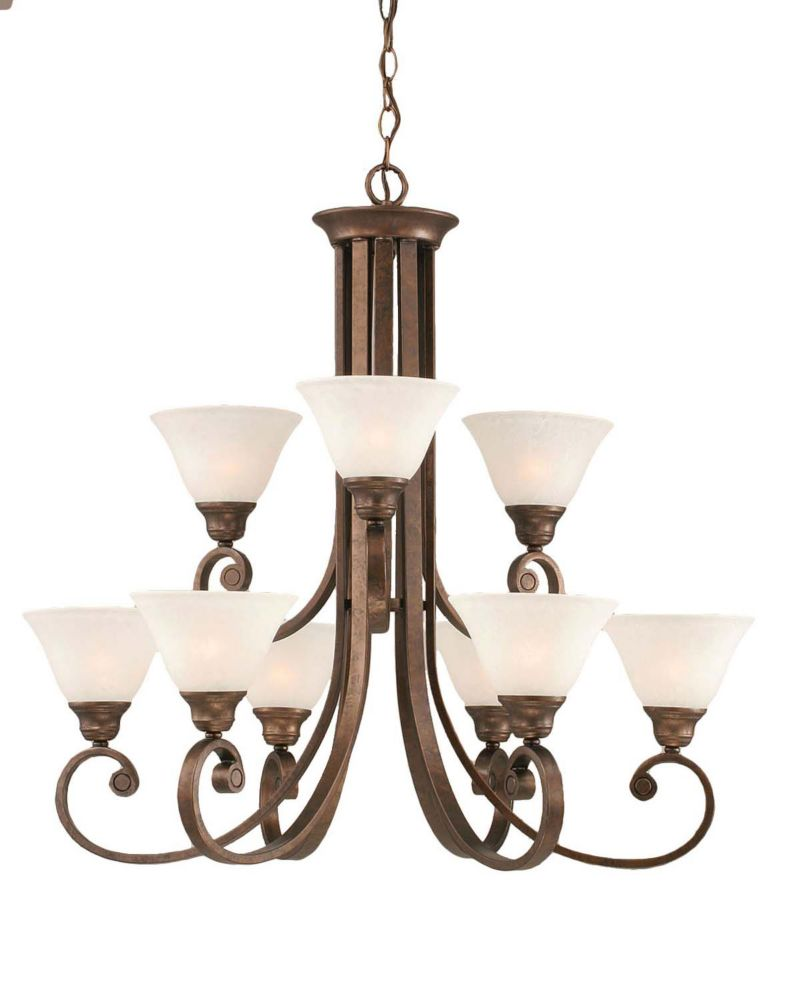 Concord 9 Light Ceiling Bronze Incandescent Chandelier with a White Marble Glass