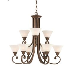 Filament Design Concord 9-Light Ceiling Bronze Chandelier with a White Marble Glass