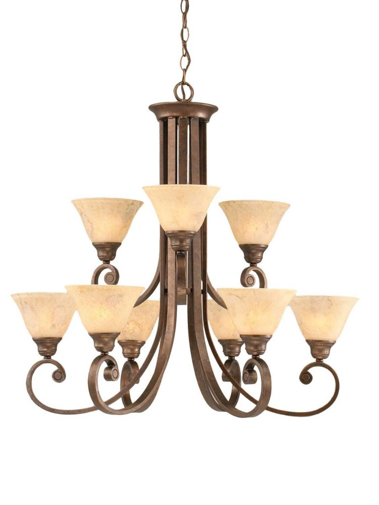 Concord 9 Light Ceiling Bronze Incandescent Chandelier with an Italian Marble Glass