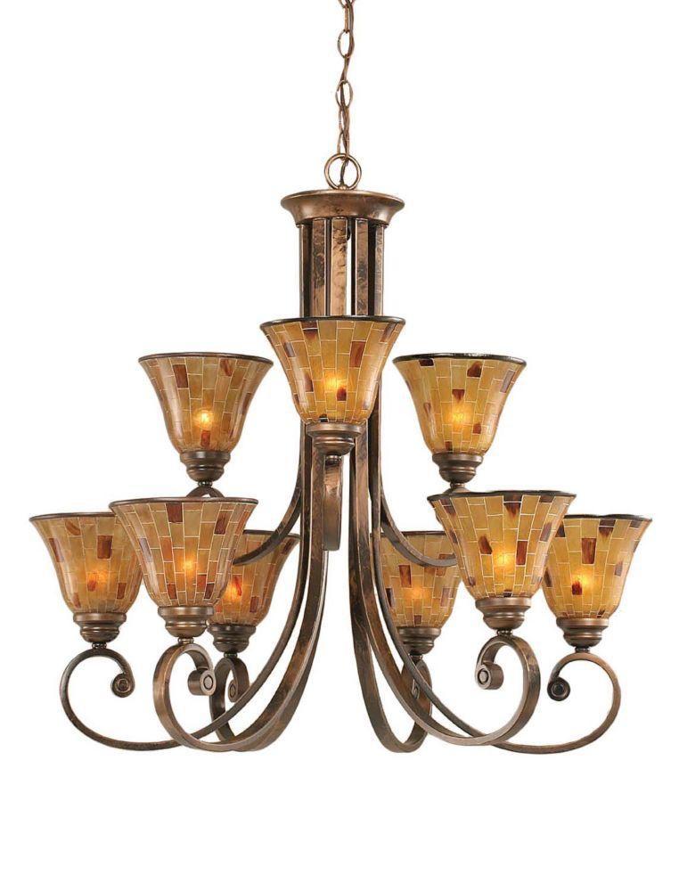 Filament Design Concord 9 lumières plafond Bronze Lustre à incandescence avec une résine Penshell