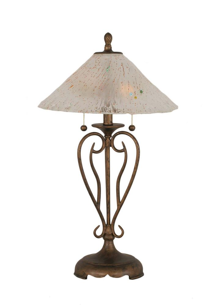 Concord 16 in Bronze Incandescent Table Lamp with a Frosted Crystal Glass