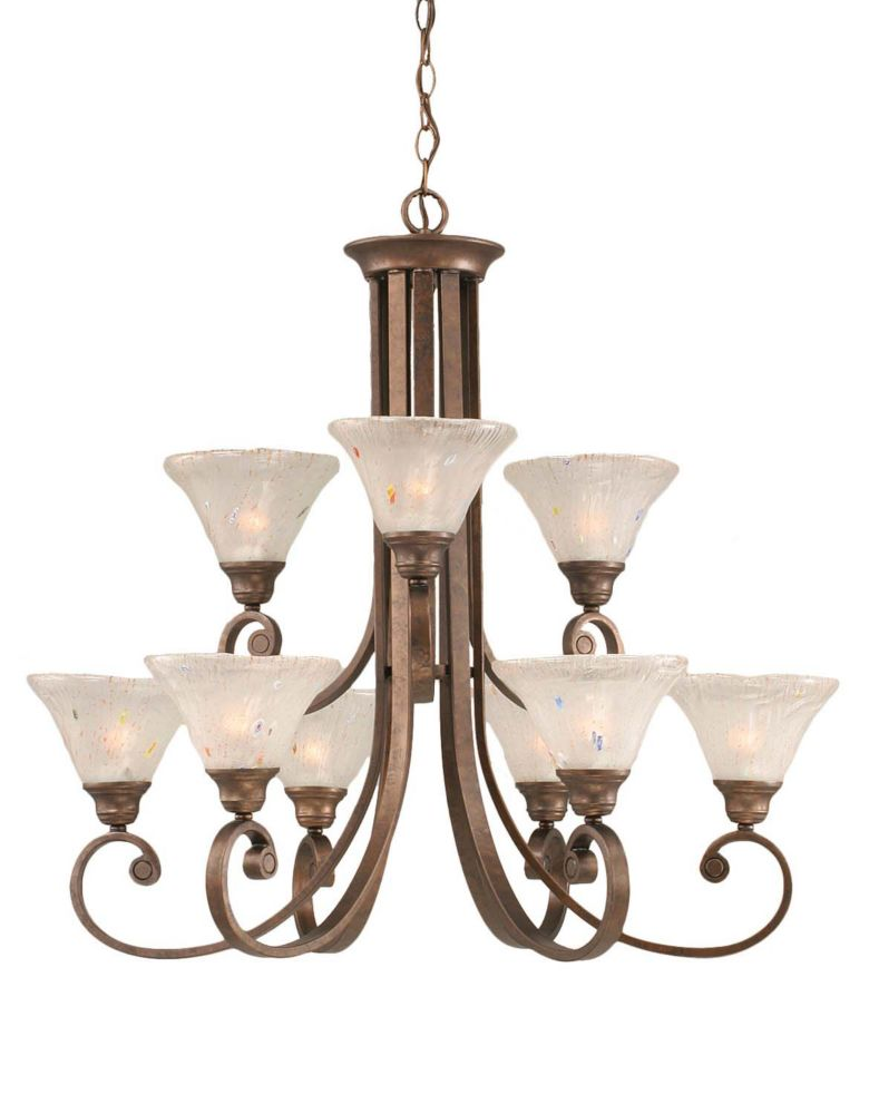 Filament Design Concord 9-Light Ceiling Bronze Chandelier with a Frosted Crystal Glass