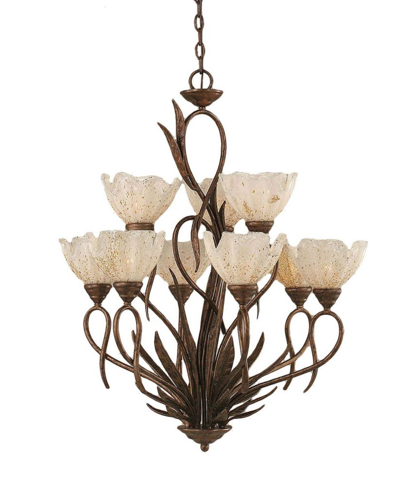 Concord 9-Light Ceiling Bronze Chandelier with a Gold Crystal Glass