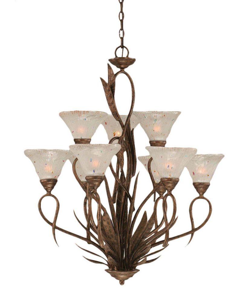 Concord 9 lumières plafond Bronze Lustre incandescence par une Frosted Crystal