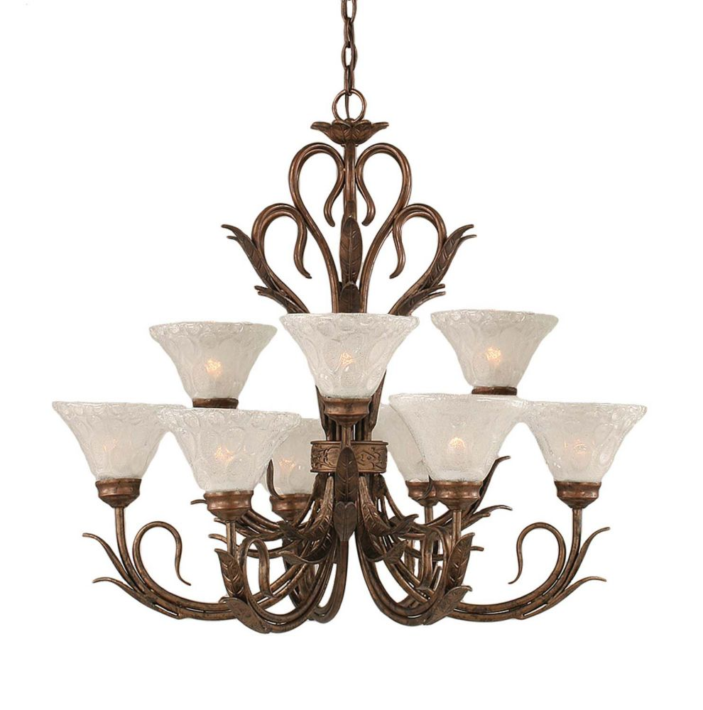 Concord 9 Light Ceiling Bronze Incandescent Chandelier with a Clear Crystal Glass