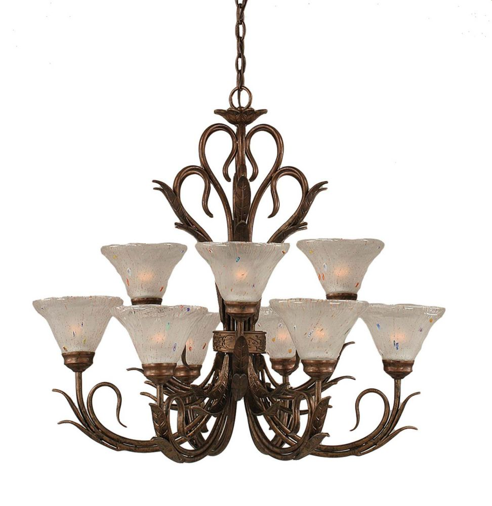 Concord 9 Light Ceiling Bronze Incandescent Chandelier with a Frosted Crystal Glass