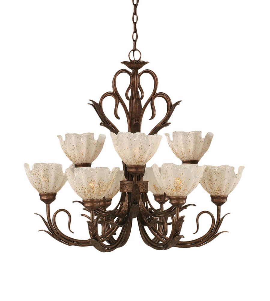 Concord 9 Light Ceiling Bronze Incandescent Chandelier with a Gold Crystal Glass