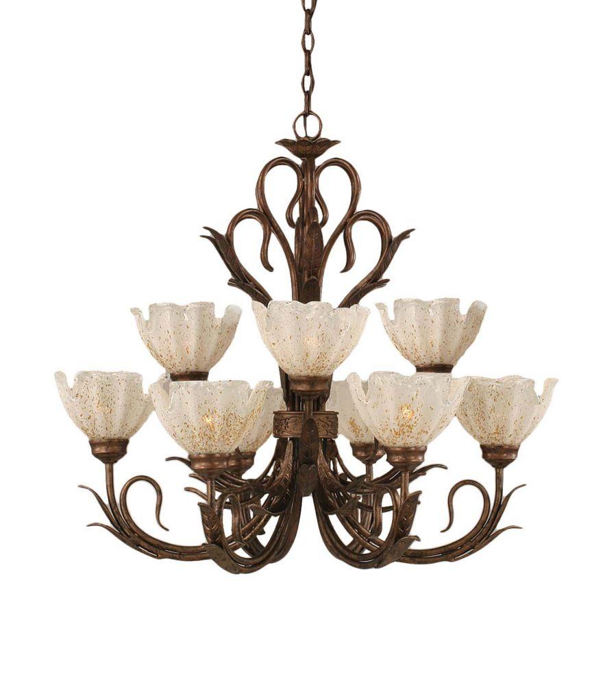 Concord 9 lumières plafond Bronze Lustre à incandescence avec un cristal en verre d'or