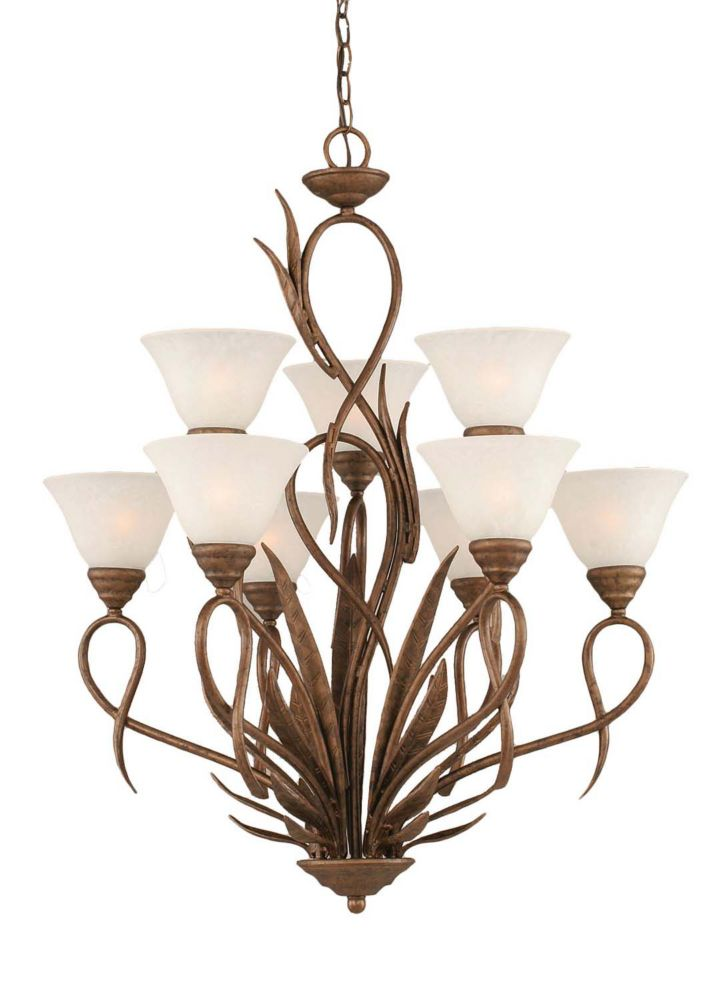 Concord 9-Light Ceiling Bronze Chandelier with a White Marble Glass