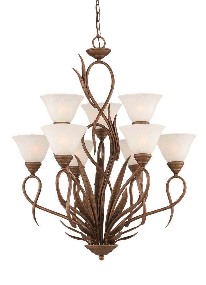 Concord 9 lumières plafond Bronze Lustre à incandescence avec un verre de marbre blanc