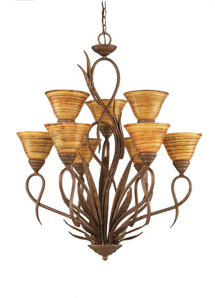 Concord 9-Light Ceiling Bronze Chandelier with a Firré Saturn Glass