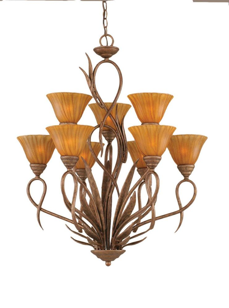 Concord 9 Light Ceiling Bronze Incandescent Chandelier with a Tiger Glass