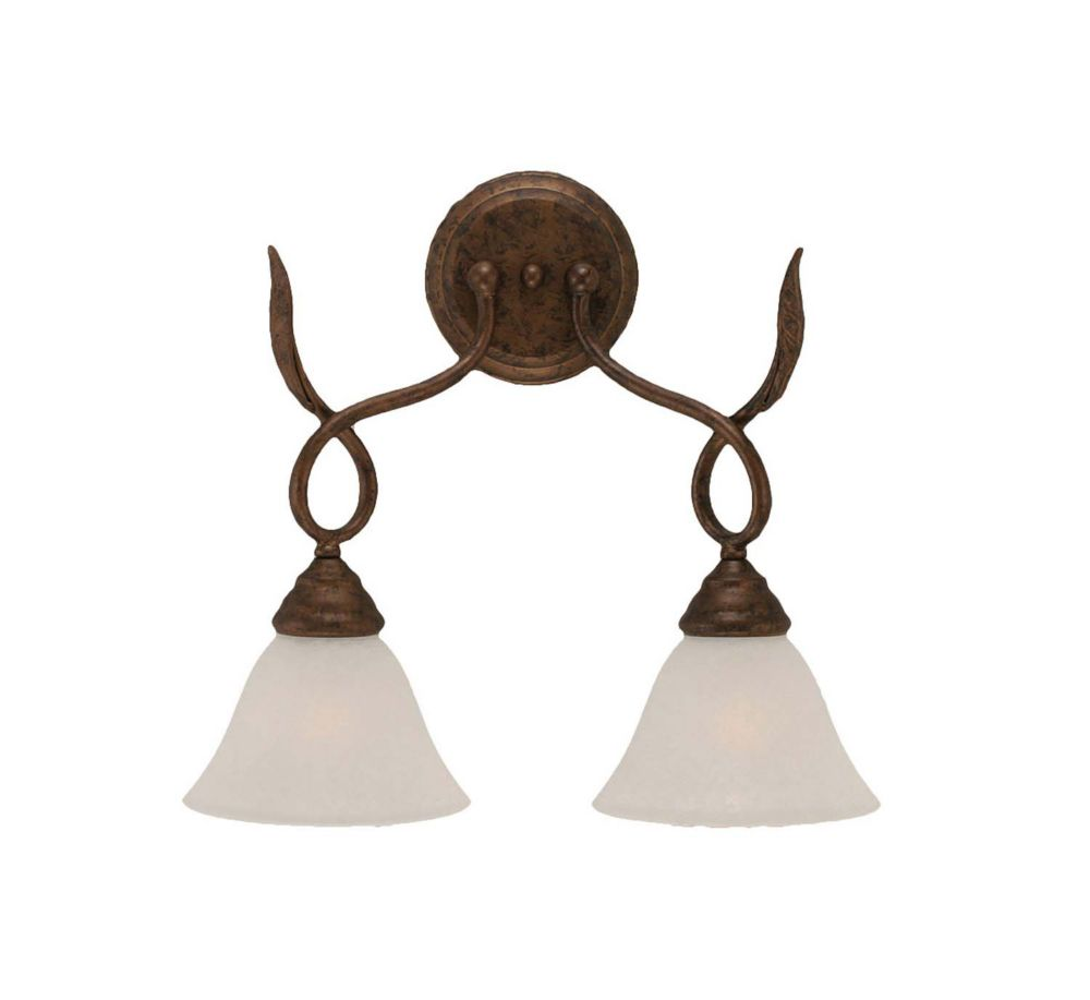 Concord 2-Light Wall Bronze Wall Sconce with a White Marble Glass