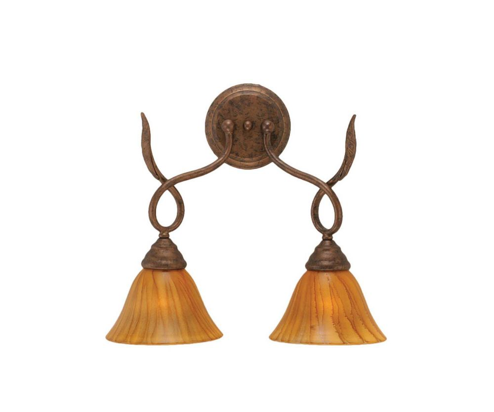 Concord 2-Light Wall Bronze Wall Sconce with a Tiger Glass
