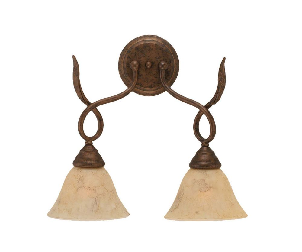 Concord 2-Light Wall Bronze Wall Sconce with an Italian Marble Glass