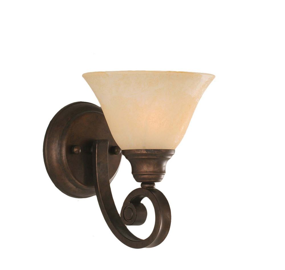 Concord 1-Light Wall Bronze Wall Sconce with an Amber Glass